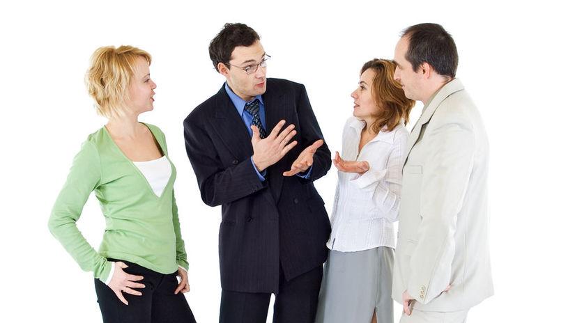skupina, kolegovia, hádka, rozhovor