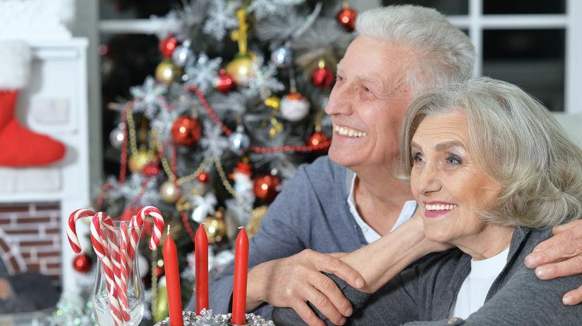 seniori, Vianoce, sviatky, úsmev, manželia