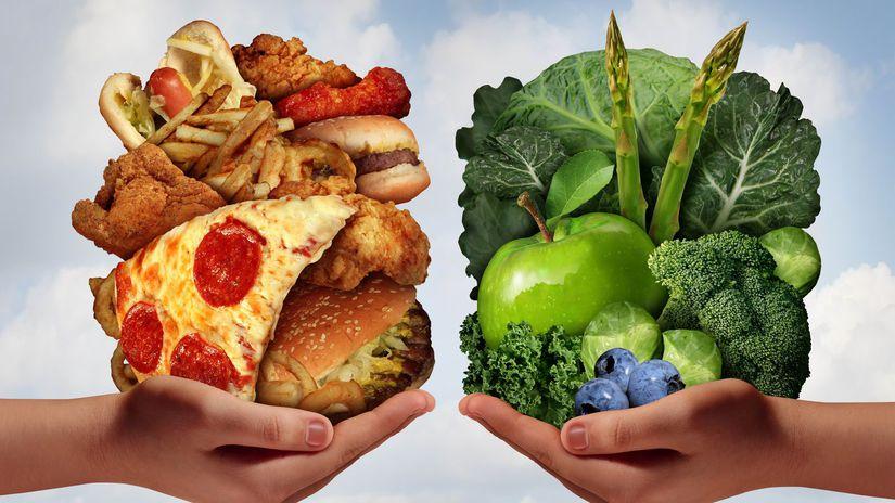 zdravá strava, fastfood, pizza, hranolky,...
