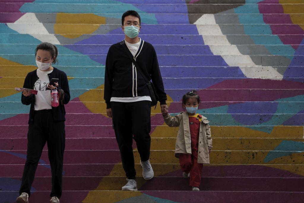 Čína, rúška, schody, maska, Peking