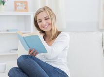 kniha, žena, čítanie, oddych, úsmev, dievča