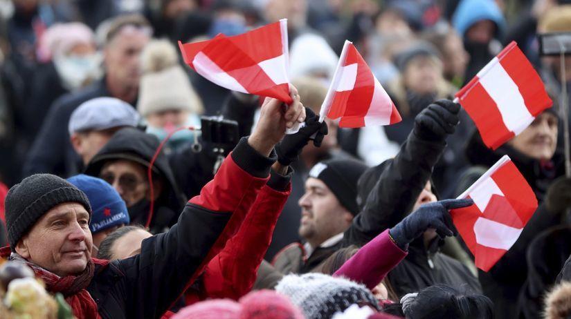 Rakúsko Viedeň Protest Koronavírus