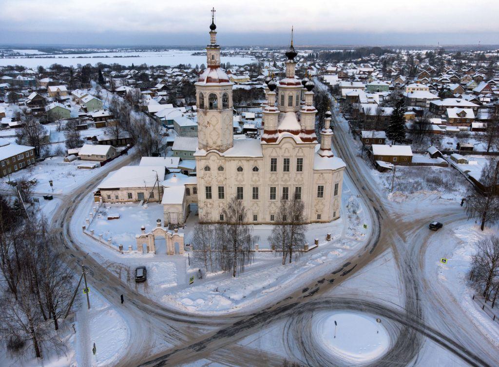 Rusko, kostol, zima, sneh,
