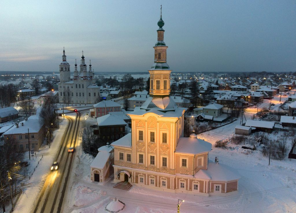 Rusko, zim, sneh, Kostol narodenia Krista, Totma