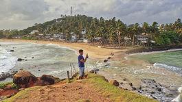 Srí Lanka, Mirissa, pláž, palmy, more