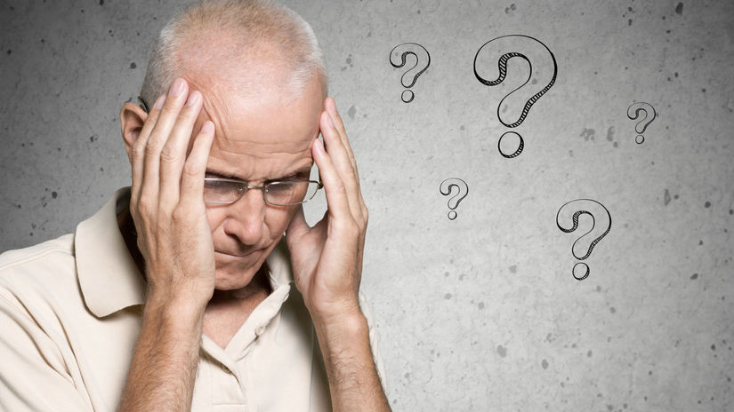 muž, dôchodca, penzista, otázniky, otázky,...