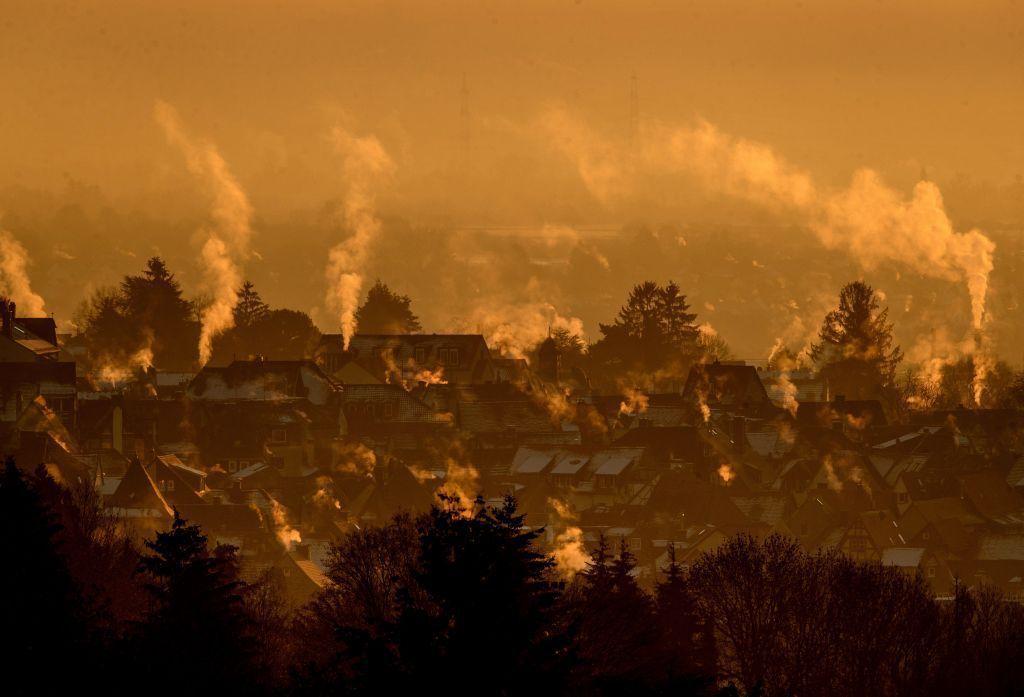 Para, dym, komíny, domy, zima, kúrenie