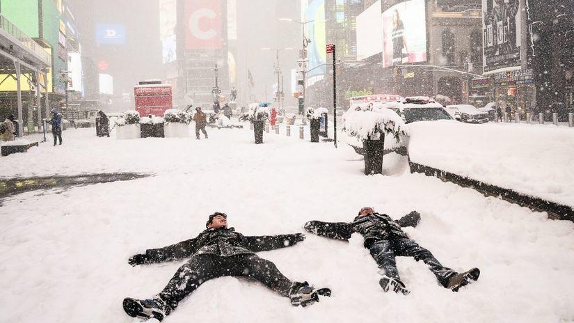 zima sneh manhattan New York