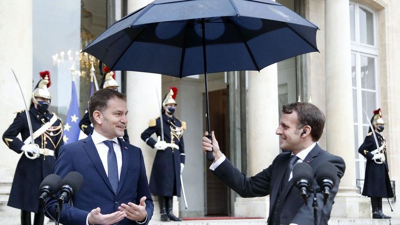 Emmanuel Macron a Igor Matovič, Paríž 3. 2. 2021