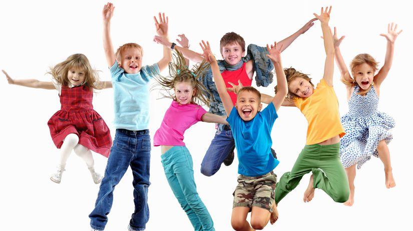 deti, skupina, skákanie, radosť