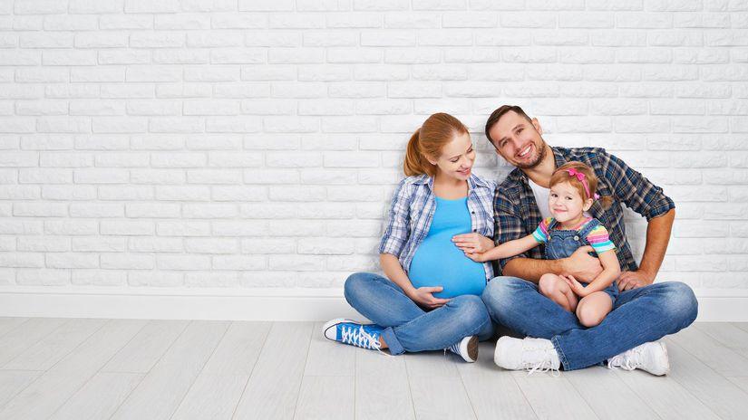 rodina, rodičia, dieťa, tehotná, tehuľka