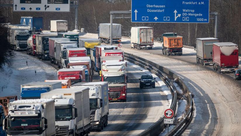 Nemecko počasie zima doprava zápcha
