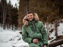 zima, les, muž, sneh, úsmev