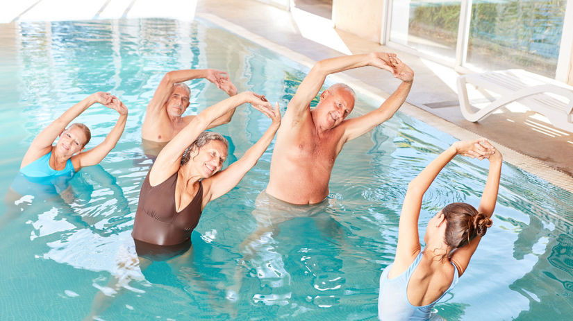 seniori, aerobic, relax, kúpele, voda, pohyb