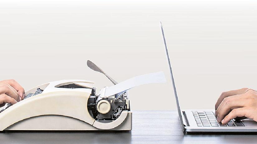 notebook, písací stroj, retro, pokrok, technológia