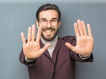 muž, radosť, desať, prsty