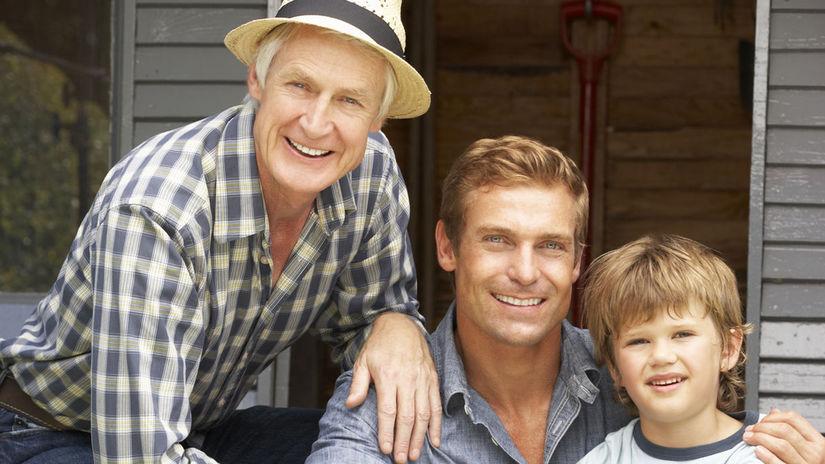generácie, muži, chlapec, otec, dedko