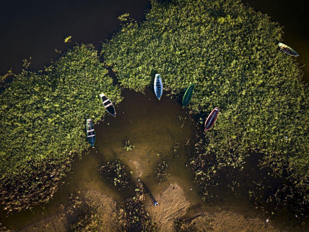 Paraguaj, lode, člny, voda, rybári,
