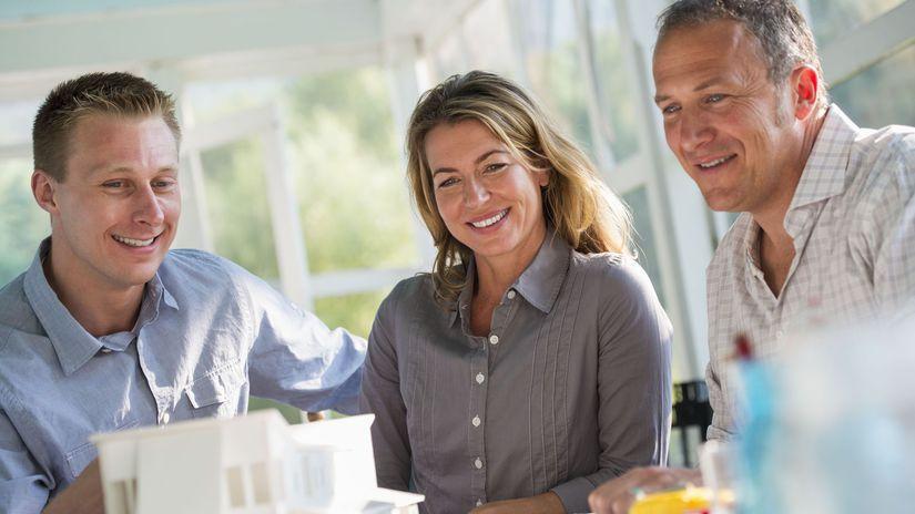 kuchyňa, plánovanie, model, dom, manželia, úsmev