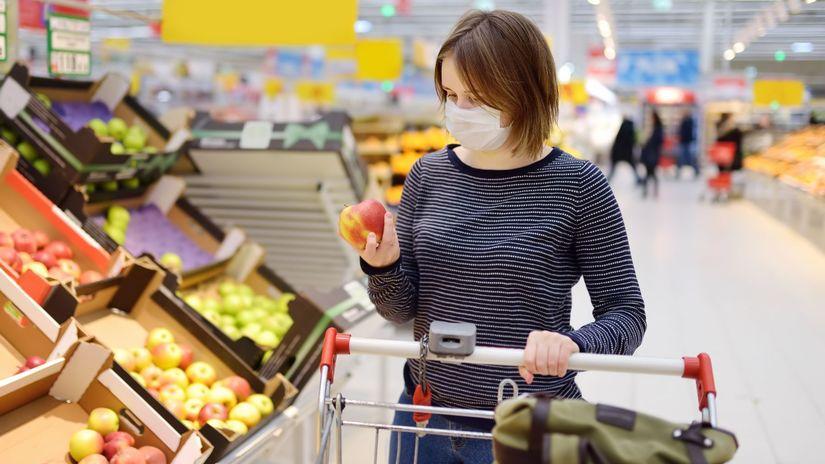žena, obchod, potraviny, nákup, vozík, ovocie,...