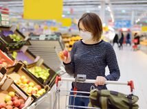 žena, obchod, potraviny, nákup, vozík, ovocie, jablko