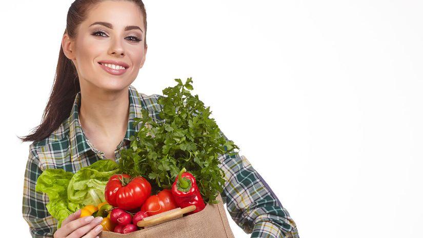 žena, úsmev, nákup, zelenina