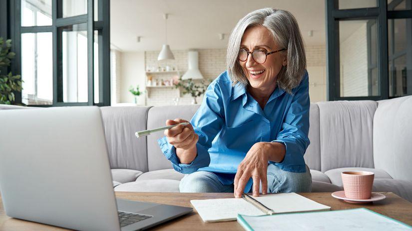 žena, penzistka, radosť, pracujúci penzisti