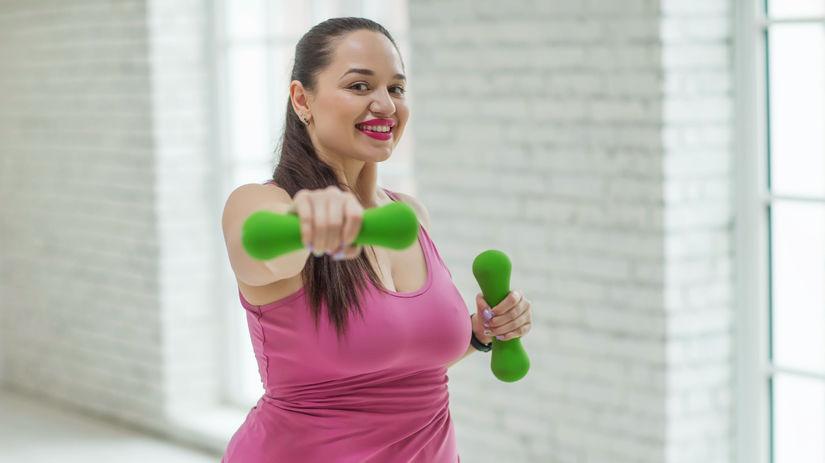 žena, činky, cvičenie
