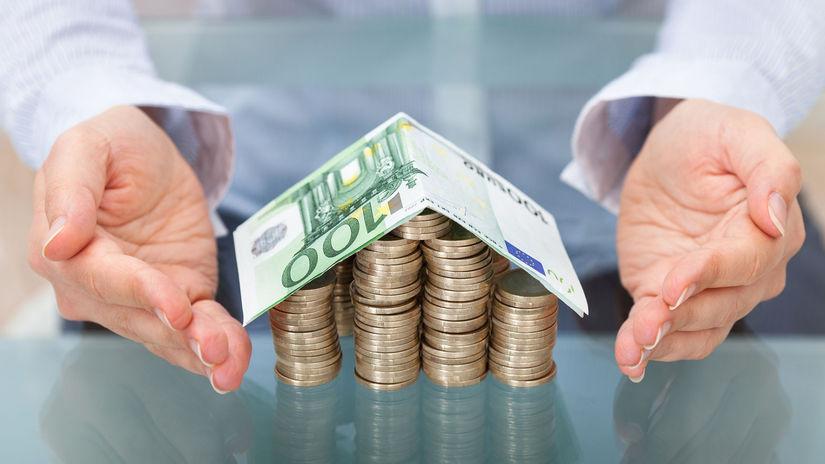 dom, peniaze, mince, bankovky, euro, financie