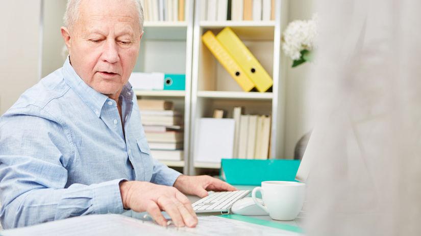 muž, senior, práca, čítanie, pracujúci penzisti