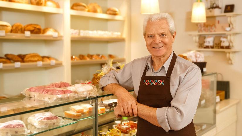 muž, senior, pracujúci penzisti, pekáreň