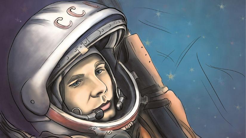Jurij Gagarin, kresba, obrázok, kozmonaut,...