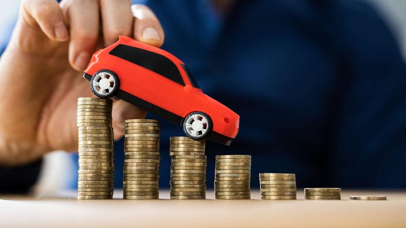 auto, poistenie, mince, peniaze