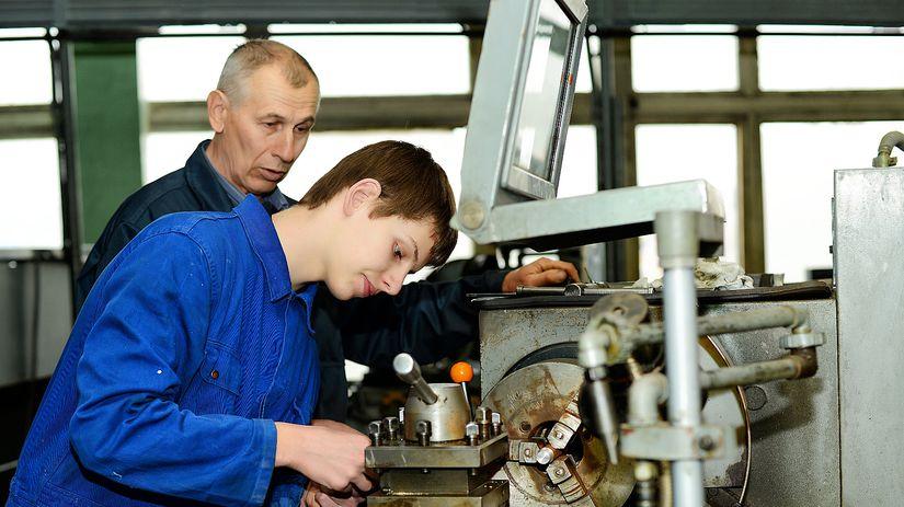 škola, chlapec, prax, stroj
