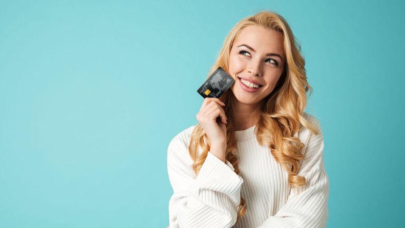 žena, sveter, karta, kreditka, nakupovanie,...