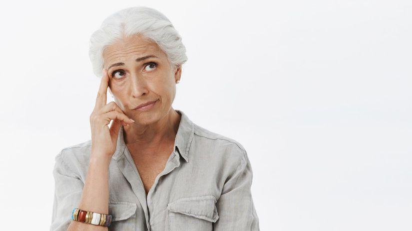žena, rozmýšľanie, dôchodkyňa