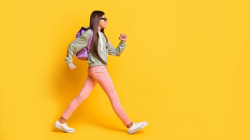dieťa, radosť, chôdza, žiačka, školská taška