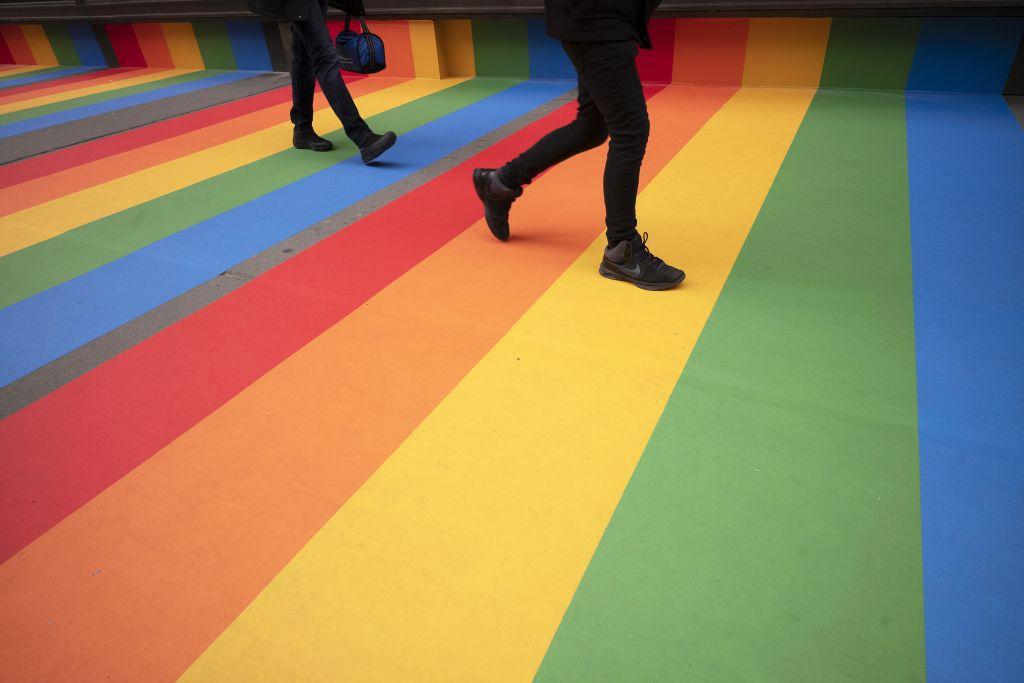 New York, dúha, chodník, farby,
