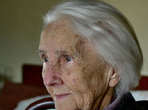 Portrait Of A Hundred Years Old Woman, Centenarian, Close Up