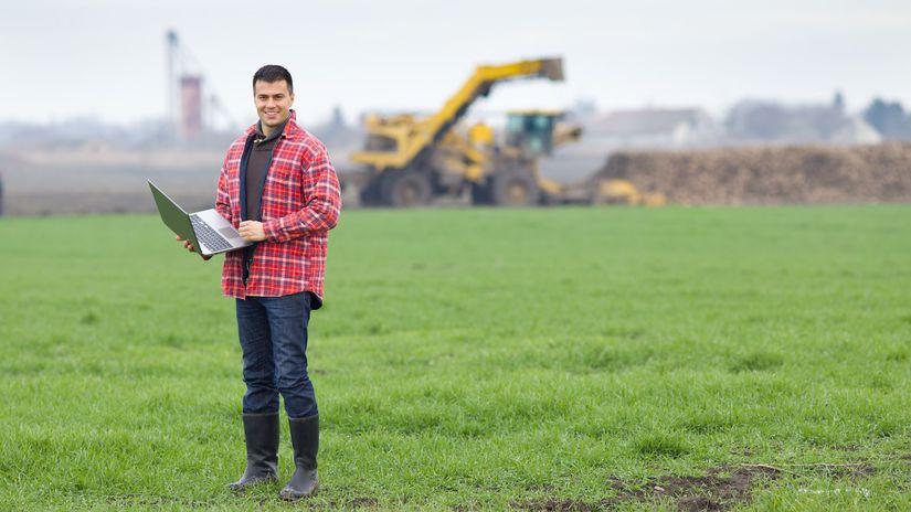 pole, pôda, muž, notebook, úsmev, farmár,...