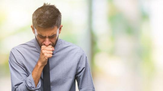 muž, kašeľ, choroba, nádcha, alergia, astma
