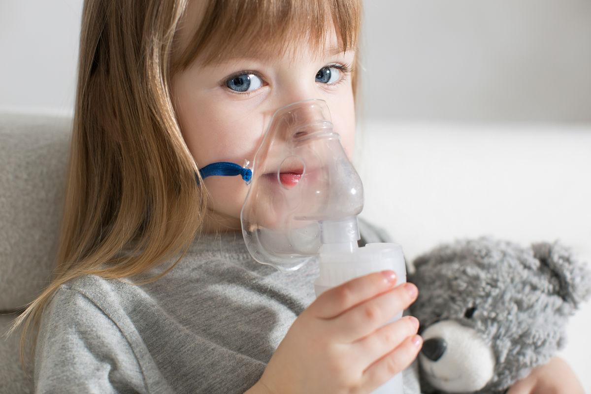dieťa, inhalácia, dýchanie, astma