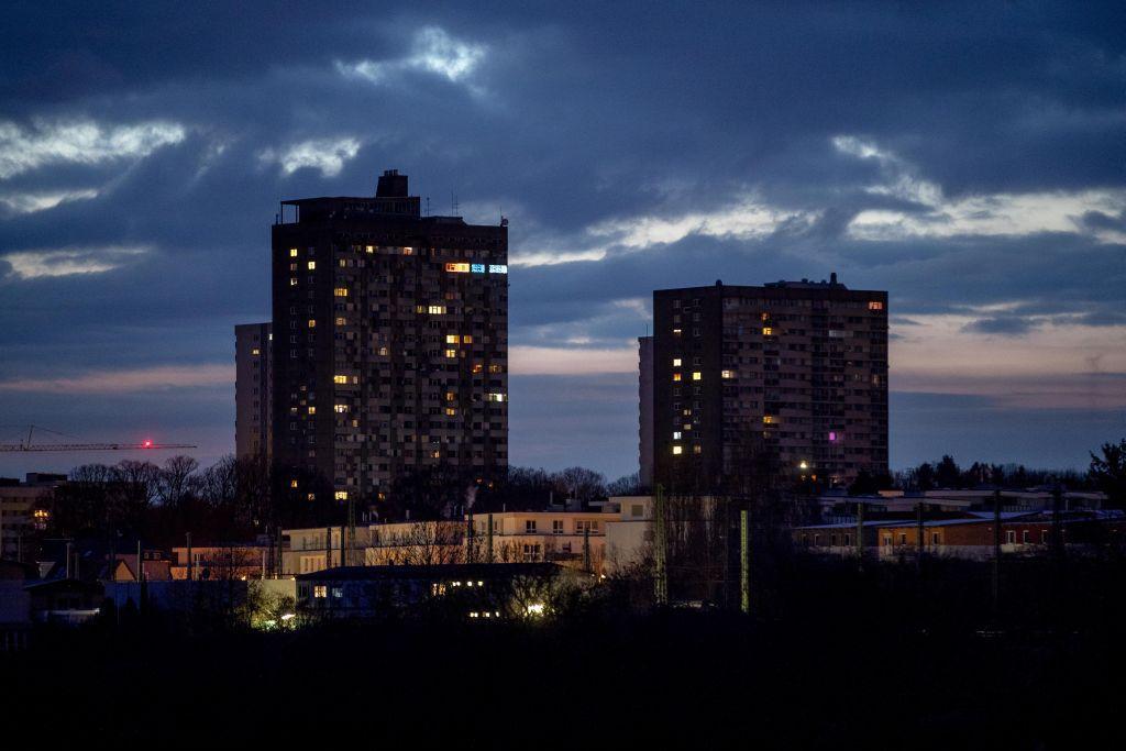 Nemecko, Frankfurt, budovy, noc