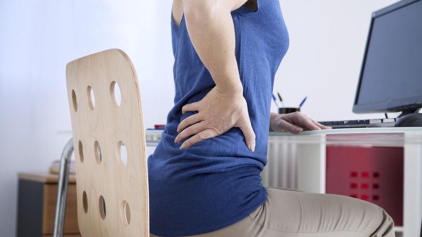 žena, sedenie, chrbát, bolesť, počítač