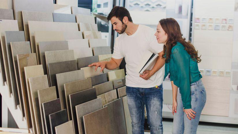 manželia, dlaždice, nákup, výber, rozmýšľanie