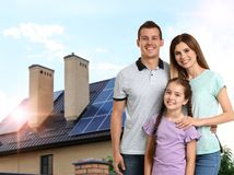 rodina, dom, solárne panely, dom budúcnosti