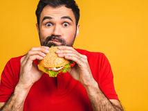 muž, sendvič, fastfood
