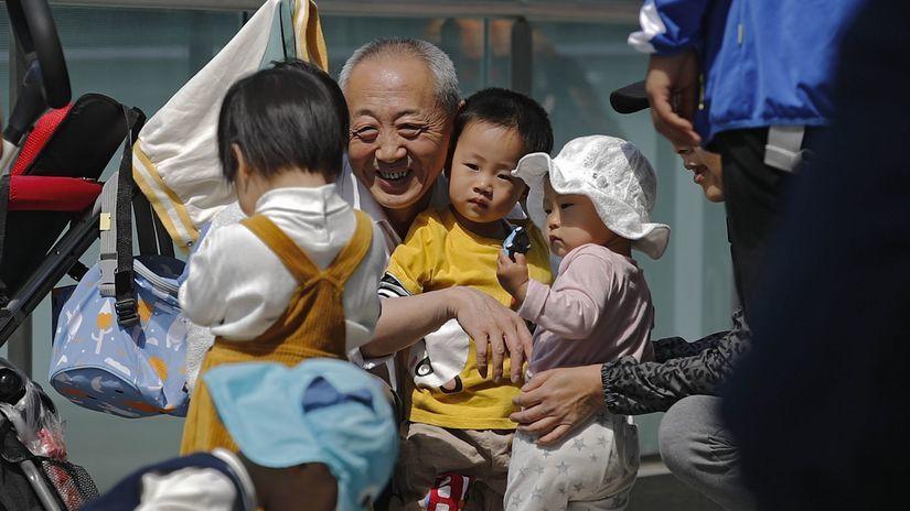 Čína, deti, starý otec, dedko, starnutie,
