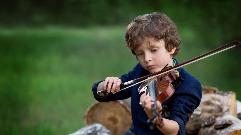 chlapec, husle, hudba, hudobník, chlapček