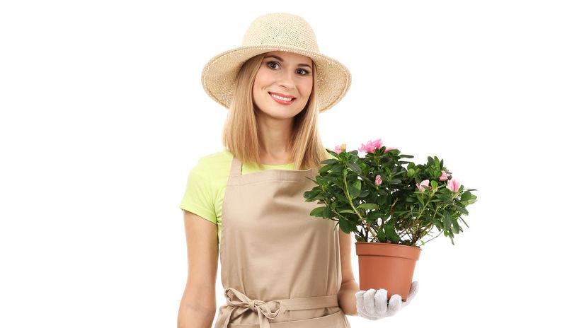 žena, kvetinárka, kvetiny, krhla, záhradníctvo